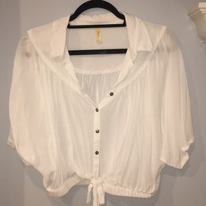 Flowy white knot top